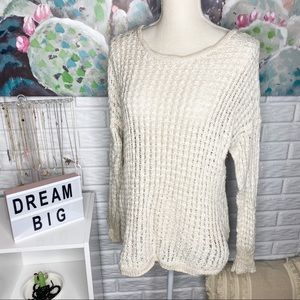 American Eagle Cream Knit Sweater Size Large